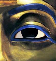 Thèbes, vallées des rois, tombe de Toutankhamon. Le masque funéraire. Musée du Caire. XVIIIè dynastie. (Site Egypte antique)