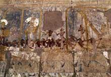 Deir el-Bahari: le temple funéraire de la reine Hatchepsout: relief de l'expédition au pays de Pount. (Site Egypte antique)