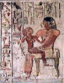 El Kab en Nubie: bas relief peint du tombeau de Paheri (Site Egypte antique)