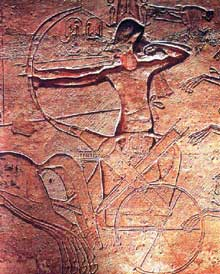Karnak, le domaine d'Amon Râ. Bas relief. XIXè dynastie. Ramsès II à la bataille de Qadesh. (Site Egypte antique)
