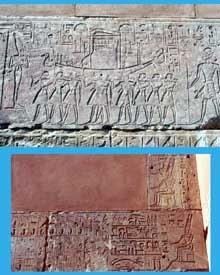 Karnak, le domaine d'Amon Râ. Bas reliefs décorant la «Chapelle Rouge» d'Hatchepsout. XVIIIè dynastie. (Site Egypte antique)