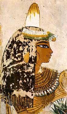 Thèbes, vallée des Rois: Tombe du noble Menna: Jeune fille. XVIIIè dynastie, vers 1410. (Site Egypte antique)