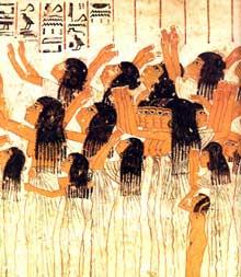 Sheikh Abd el-Gourna. Tombe de Ramosé. Pleureuses du cortège funèbre en trois registres superposés. Détail. XVIIIè dynastie, vers 1360. Peinture sur stuc. (Site Egypte antique)