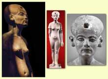 Statue de Néfertiti. Atelier du sculpteur Touthmès. XVIIIème dynastie époque d'Amarna. Musée du Caire. (Site Egypte antique)