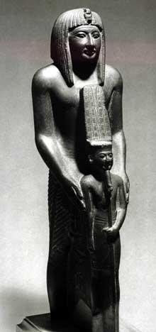 Ramsès VII debout présentant le dieu Amon. XXè dynastie. Schiste, 38cm. Le Caire, musée égyptien. (Site Egypte antique)