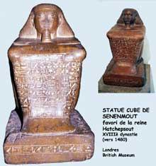 Karnak, cour de la cachette. Statue cube de Senenmout, favori de la reine Hatchepsout. XVIIIè dynastie, granit. Londres, British Museum. (Site Egypte antique)
