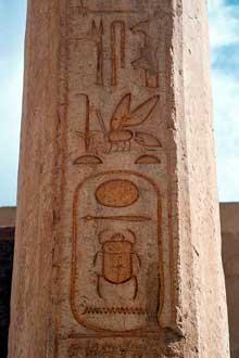 Le cartouche royal de ThoutmosisII (Aakeheperenre) sur un obélisque du temple funéraire d'Hatchepsout à Deir el Bahari. Le cartouche est précédé de symboles royaux, comme l'abeille… (Histoire de l'Egypte ancienne)