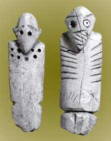 Egypte, culture de Nagada I: figurines mâles. Musée du Caire. (Site Egypte antique)