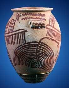 Egypte, culture de Nagada II: jarre peinte avec bateaux. Museum of Fine Arts, Boston (Site Egypte antique)