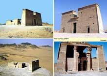 Dakka, temple de Thot. Il est fondé, comme Dabod, par Ergamène, sous le règne de Ptolémée II (309-246 av. J-C.). Il a été agrandi à plusieurs reprises, y compris par Auguste. (Histoire de l'Egypte ancienne)