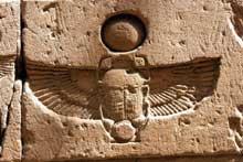 Edfou: le temple dédié à Horus: relief au scarabée. (Site Egypte antique)