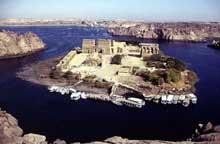 Philae: vue générale de l'île. (Site Egypte antique)