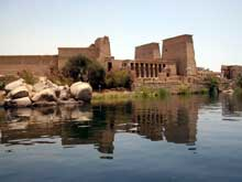 Philae : vue du temple. (Site Egypte antique)