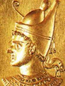 Ptolémée XI Alexandre II. Bague en or, Musée du Louvre. (Histoire de l'Egypte ancienne)