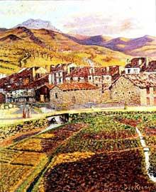Dario de Regoyos (1857 – 1913): Paysage de vigne. 1900. Huile sur toile, 65x54cm. Collection privée