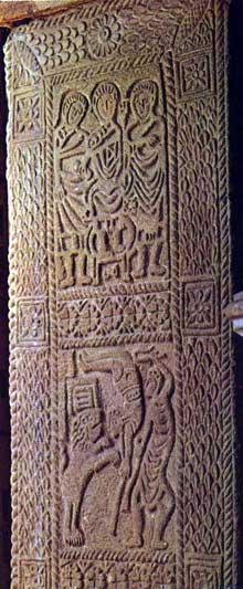 San Miguel de Lillo sur le mont Naranco: relief d'un pilier de l'entrée ouest imitant un ivoire ancien avec scènes de cirque. Vers 848