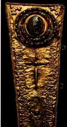 La croix des Anges. Règne d'AlphonseII. 804. Détail. Cathédrale d'Oviedo, Camara Santa
