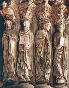 Santiago de Compostelle: le portique de la gloire. Détail des sculptures de Maître Mattéo (1168-1217