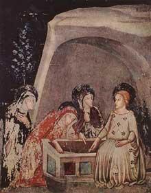 Ferrer Bassa. Les trois saintes femmes au sépulcre. Vers 1346. Fresque du monastère de Pedralbes, Barcelone