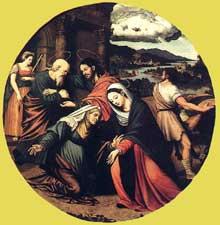 Vincente Massip: la Visitation. Panneau de bois, diamètre: 60 cm. Madrid, musée du Prado