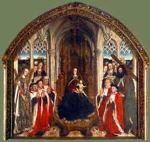 Luis Dalmau (actif entre 1428 et 1461): le retable des Conseillers. 1445. Tempera sur bois, 285 x 310 cm. Barcelone, musée national de Catalogne. (Histoire de l'art - Quattrocento