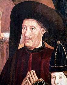 Nuno Gonçalves (actif entre 1450 et 1471): Henri le navigateur: détail du polyptyque de saint Vincent. 1460. Huile sur panneau de bois. Lisbonne, musée national d'Art ancien. (Histoire de l'art - Quattrocento