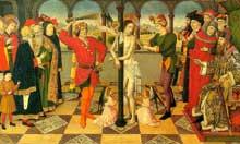 Jaume Huguet (1415-1492): la flagellation du Christ. Vers 1450. Bois, 106 x 210 cm. Paris, musée du Louvre. (Histoire de l'art - Quattrocento