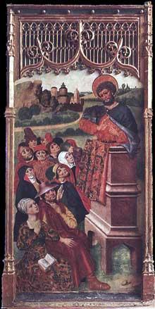 Jorge Ingles (actif autour de 1450): saint prêchant. 1455. Panneau de bois. Cincinnati, Art Museum. (Histoire de l'art - Quattrocento
