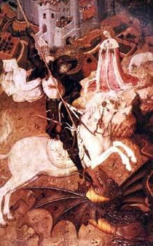 Bernat Martorell (1400-1452): Saint Georges et le dragon. 1430-1435. Tempera sur bois, 141 x 96 cm. Chicago, Art Institut. (Histoire de l'art - Quattrocento
