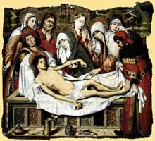 Pedro Sanchez (actif entre 1450 et 1500): Mise au tombeau du Christ. 1490. Tempera sur bois, 82 x 90 cm. Budapest, muse des Beaux Arts. (Histoire de l'art - Quattrocento