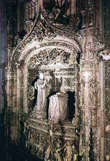 Gil de Siloe (mort en 1501): Tombe de l'infant Alfonso, 1489-1493. Albâtre. Burgos, monastère de Miraflores. (Histoire de l'art - Quattrocento