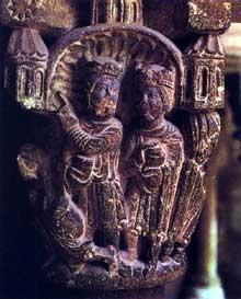 San Cugat del Vallès: le cloître. Chapiteau historié de l'épiphanie. Le cloître compte en tout 144 chapiteaux