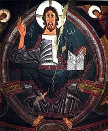 San Clemente de Tahull: abside de l'église: le Christ Pantocrator. Barcelone: musée d'Art de Catalogne