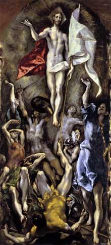 Domenikos Theotokopoulos, «El Greco»: la Résurrection. 1596-1600. Huile sur toile, 275 x 127 cm. Madrid, Musée du Prado