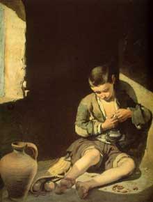 Estéban Murillo: le jeune mendiant. Vers 1645. Huile sur toile, 134 x 100 cm. Paris, Musée du Louvre