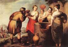 Estéban Murillo: Rébecca et Eliézer. Vers 1650. Huile sur toile, 107 x 171 cm. Madrid, musée du Prado.