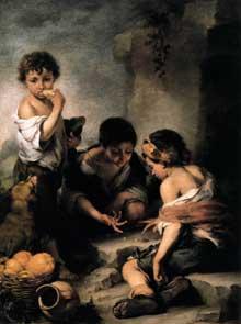 Estéban Murillo: enfants jouant aux dés. Young Boys. Vers 1675. Huile sur toile, 145 x 108 cm. Munich, Alte Pinakothek