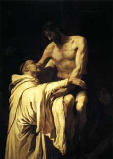 Francisco Ribalta: le Christ embrassant saint Bernard. 1625-1627. Huile sur toile, 158 x 113cm. Madrid, Musée du Prado