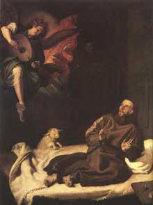 Francisco Ribalta: Saint François réconforté par un ange. 1620. Huile sur toile, 204 x 158cm. Madrid, Musée du Prado