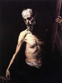 José de Ribera: Saint André. 1630-1632. Huile sur toile, 123 x 95cm. Madrid, musée du Prado