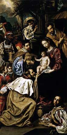 Luis Tristan de Escamilla: l'adoration des Mages. 1620. Huile sur toile, 232 x 115cm. Budapest, Musée des Beaux Arts
