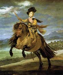 Diégo Vélasquez: le Prince Baltasar Carlos à cheval. 1635-1636. Huile sur toile, 209 x 173 cm. Madrid, Musée du Prado