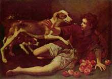 Pedro Nuñez de Villavicencio: le panier de pommes renversé. Huile sur toile, 96 x 136cm. Budapest, collection Esterhazy