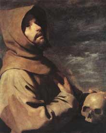 Francisco Zurbaran: Saint François. Vers 1660. Huile sur toile, 65 x 53cm. Munich, Alte Pinakothek