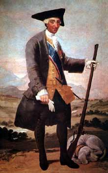 Francisco Goya: portrait de CharlesIII en costume de chasse. 1786-1788. Huile sur toile, 210 x 127 cm. Madrid, Collection Del Arco