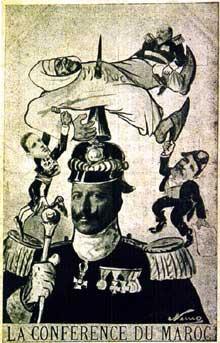 Caricature de GuillaumeII lors de l'affaire du Maroc en 1905
