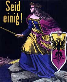 «Soyez unis»: Germania en armes aux bords du Rhin. Gravure patriotique de 1870. Paris, Musée Carnavalet