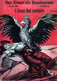 L'Alsace foudroyée par l'aigle prussien. Affiche du caricaturiste Henri Zislin à propos de l'octroi à l'Alsace du statut de «Land» en 1905