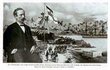 La présence coloniale allemande. Affiche à l'honneur du plus grand explorateur allemand, Gustav Nachtigal
