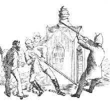 Caricature représentant Bismarck et le diable contre l'église catholique lors du «Kulturkampf». Bavière 1973